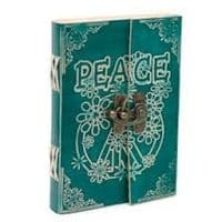 Leather Embossed Peace Journal with Buckle